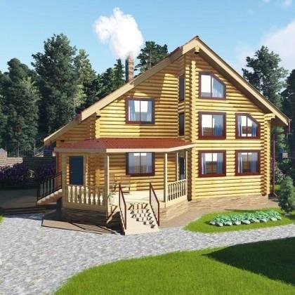 Двухэтажный дом из оцилиндрованного бревна №3-8 на 245 кв.м