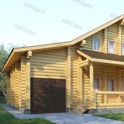 Двухэтажный дом из оцилиндровки с гаражом №3-6 на 216 кв.м