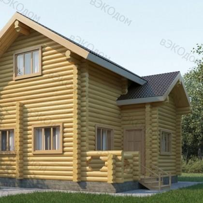 Двухэтажный деревянный дом с мансардой №1-3 на 83 кв.м